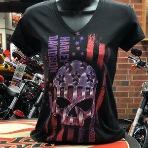 Harley Davidson woman's patriotic skull T-shirt